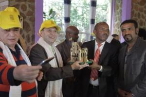 President Dr. Anton Caragea receives Fesil Gebril macheta from Mayor of Gondar-Mr. Getinet Amare