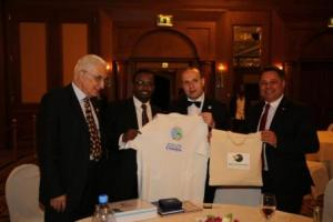 Academician Mircea Constantinescu, Minister of Culture and Tourism-Amin Abdulkadir,President Dr. Anton Caragea and European Senator Ionel Agrigoroaei proudly presents ETHIOPIA-WORLD BEST TOURIST DESTINATION logo